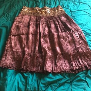 Chocolate brown satin sequined lined skirt